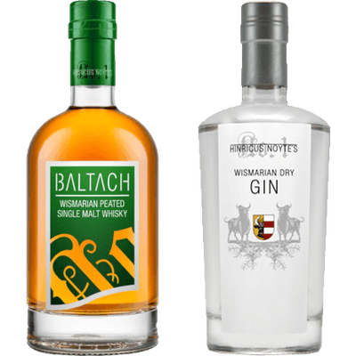 Wismarian Power - 2x Craft Spirituosen (1x BALTACH Wismarian Single Malt Whisky + 1x Wismarian Dry Gin)