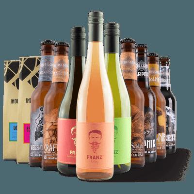 Bier-Kaffee-Wein-Set: 1x Weisswein + 1x Rotling + 1x Traubensecco Rosé alkoholfrei + 1x Kaffee + 1x Espresso + 6x Craft Beer