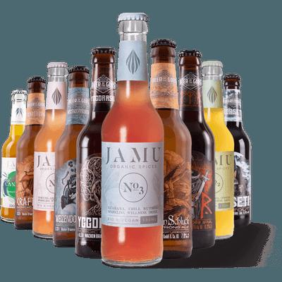 Bier-Limo-Set: 4x Bio JAMU Limonade inkl. Bio Cannabis Drink + 6x Craft Beer