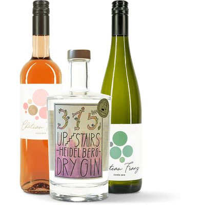 Gin-Wein-Fruchtpaket: 1x 315 Upstairs Heidelberg Dry Gin + 1x Château Franz Cuvée Weißwein 2018 + 1x Château Franz Rosé 2018