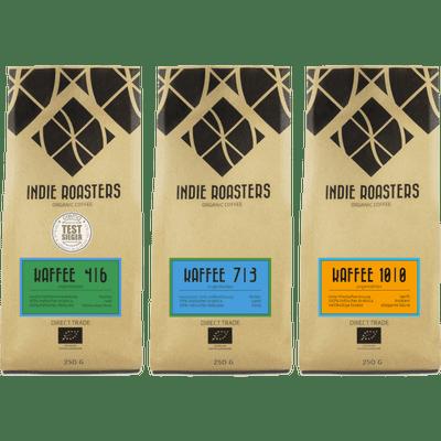 Kaffeeglück - 3x Craft Kaffee von Indie Roasters (1x Kaffee 4 | 6 + 1x Kaffee 7 | 3 + 1x Kaffee 10 | 0)