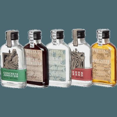 Das ultimative Set von FREYTAG Liqueurs & Spirits (1x Gin + 1x Hibiskuslikör + 1x Botanical Infused Korn + 1x 3 Korn Brand + 1x Zimtlikör)