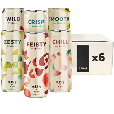 Probierpaket - 6x Kiss of Wine Mix (je 1x Wild Dolcetto, Feisty Nebbiolo, Crisp Sauvignon Blanc, Zesty Riesling, Smooth Chardonnay, Chill Rosé)