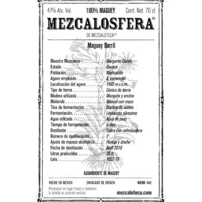 Mezcalosfera Barril Mezcal 2019 - Molienda manual con mazo Etikett