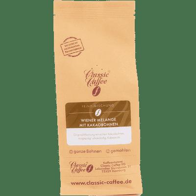 Kaffee Wiener Melange mit Kakaobohnen