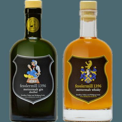 Fessler Mühle Traditionspaket - 1x Craft Gin und 1x Craft Whisky (1x mettermalt® Whisky classic + 1x alwa® mettermalt® Gin)