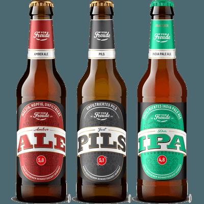 Glückspaket Von Freude - 12x Craft Beer (4x Amber Ale + 4x Just Pils + 4x Das IPA)